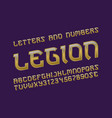 legion golden alphabet with numbers and currency vector image vector image