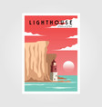 lighthouse and sea poster background vintage vector image
