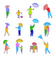 line people with umbrella flat line cartoon vector image vector image
