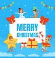 merry christmas banner template cute happy kids vector image