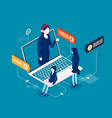 mobile call center with consultant isometric vector image