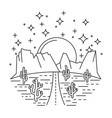nightly desert road vector image vector image