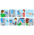 people using atm machine vector image vector image