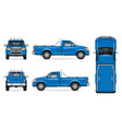 realistic blue pickup truck mock-up vector image