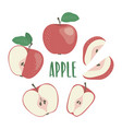 red apple hand drawn set with lettering vector image