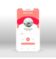 red music player ui ux gui screen for mobile apps vector image vector image