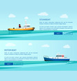 retro steamboat and motor boat out in sea vector image vector image