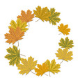 round maple leaf frame autumnal wreath frame with vector image vector image