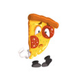 sad slice of pizza funny cartoon fast food vector image vector image