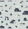 seamless pattern with wooden country houses town vector image vector image
