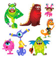 set of cute kind smiling animated monsters vector image vector image