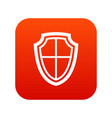 shield icon digital red vector image vector image