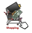 Shopping cart with household appliances vector image vector image