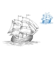 Sketch of sailing ship under full sail vector image vector image