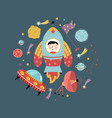 space icons in cartoon style collection vector image vector image