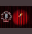 stand up comedy with neon microphone sign and red vector image vector image