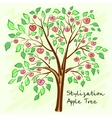 Stylized apple tree with lonely mysterious fruits vector image vector image
