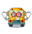 super hero school bus character cartoon vector image vector image
