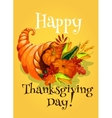 Thanksgiving Day cornucopia greeting card vector image vector image