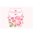 vintage greeting card with pink flowers and place vector image vector image