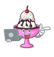 with laptop ice cream sundae character cartoon vector image vector image