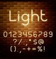 yellow glowing neon alphabet numbers vector image