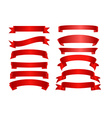 Red ribbon banner flat collection vector image