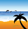 palm on the beach with dolphins color vector image