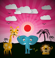 African Sunset Landscape with Elephant Lion and vector image
