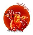 Cartoon red dragon closeup vector image