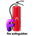 A letter F for fire extinguisher vector image vector image