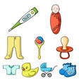 baby born set icons in cartoon style big vector image vector image