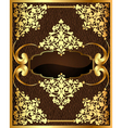 background with brown frame with golden pattern vector image vector image