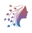 beautiful woman silhouette with leaves vector image vector image