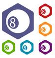 billiard ball icons hexahedron vector image vector image
