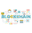 blockchain word lettering vector image vector image
