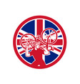 british bike mechanic union jack flag mascot vector image vector image