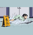 businessmans swimming on wet floor warning sign vector image vector image