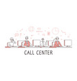 call center concept customer support service help vector image