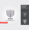 candle holder for hanukkah line icon vector image