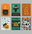 collection of halloween greeting cards vector image