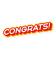 congrats red and yellow text effect template with vector image