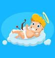 cupid is lying on a cloud smiling and waving vector image vector image