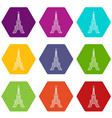 eiffel tower icons set 9 vector image
