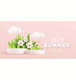 enjoy summer 3d realistic background with clouds vector image vector image