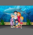 family in aquarium scene vector image