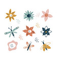 flower and branch collection floral flowers vector image vector image