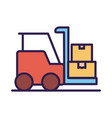 forklift vehicle service line and fill style vector image vector image