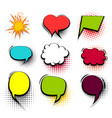 funny set colored comic speech bubble heart burst vector image vector image