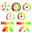 gauges set credit score indicators vector image vector image